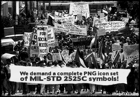 """We demand a complete PNG icon set of MIL-STD 2525C symbols!"""