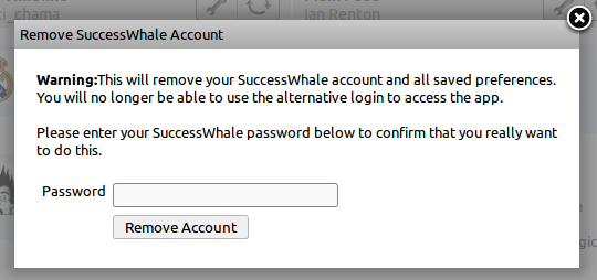 SuccessWhale account deletion dialog