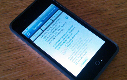 Facebook app running on an iPod Touch