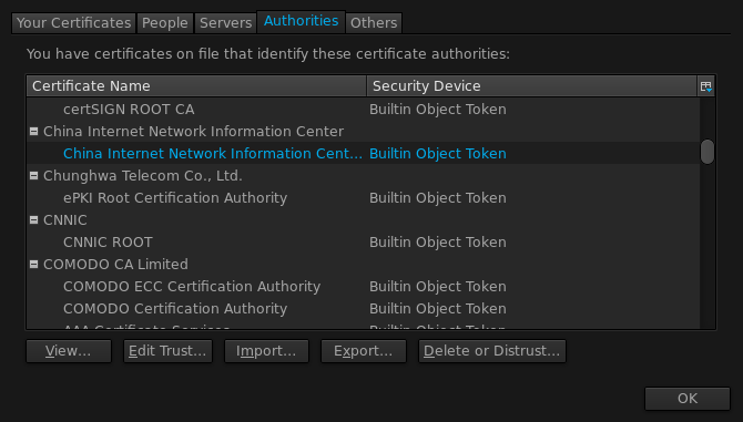 Certificate Authority list in Firefox 23.0