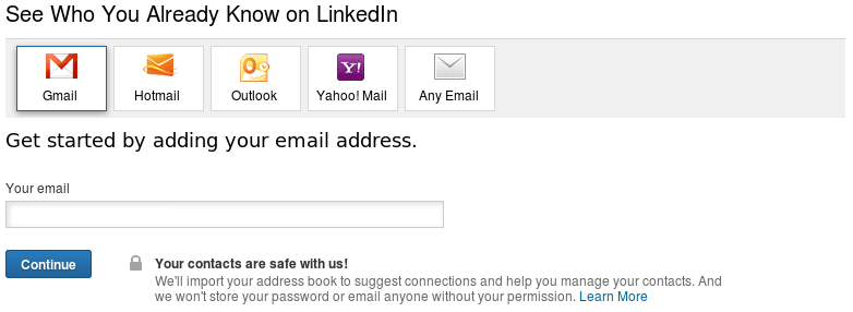 LinkedIn requesting to connect to GMail