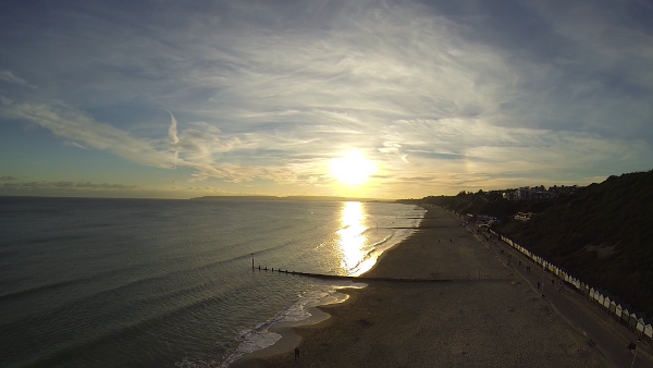 Sunset over Bournemouth Beach, filmed by quadcopter, October 2013