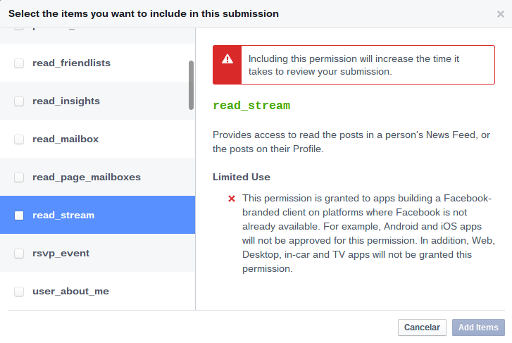 Facebook dialog for read_stream permission