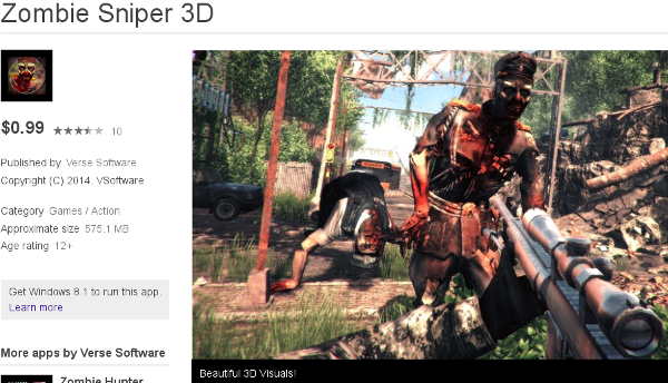 Zombie Sniper 3D, rated 12+