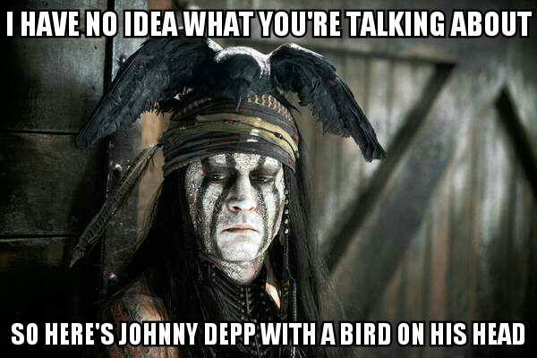 I've no idea what you're talking about, so here's Johnny Depp with a bird on his head