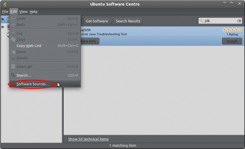 The Ubuntu Software Centre's Edit menu