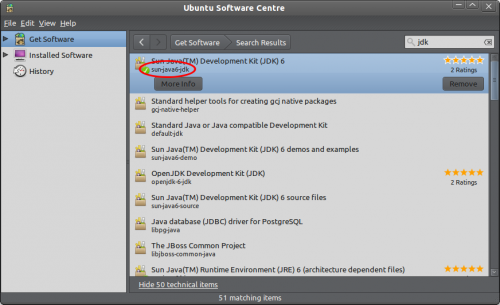 Ubuntu Software Centre window with sun-java6-jre selected