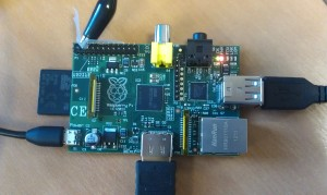 Raspberry Pi with Croc Clip attached to GPIO Ground