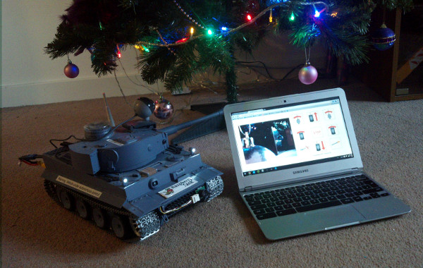 The Raspberry Tank in front of the Christmas tree