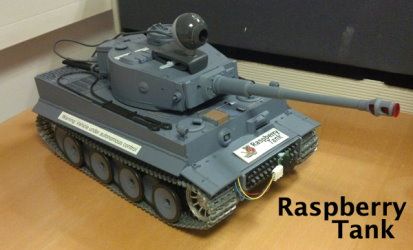The Raspberry Tank, a model Tiger tank shown with a camera and sensors fitted